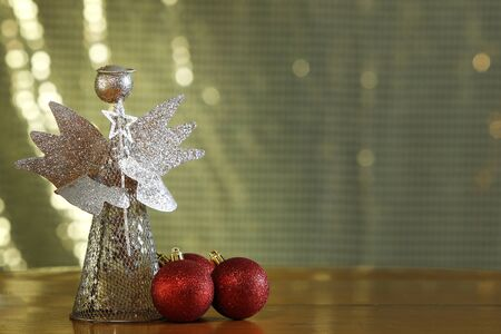 christmas and New Year holidays background with christmas angel - golden christmas angel Imagens