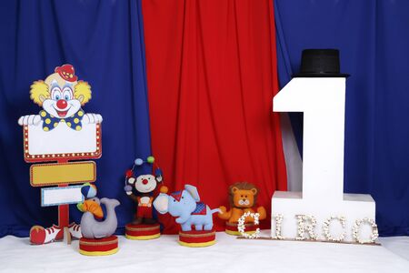 Colorful circus decoration with characters for one year birthday - circus scenery - one year anniversary Imagens