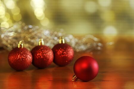 christmas and New Year holidays background with christmas balls - red christmas balls