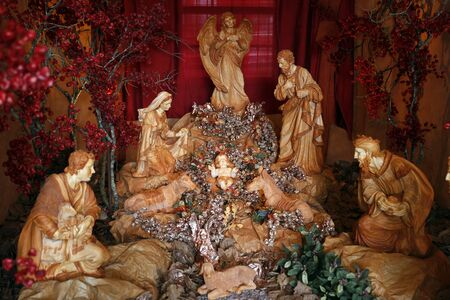 christmas and New Year holidays background with holy family in the crib Imagens