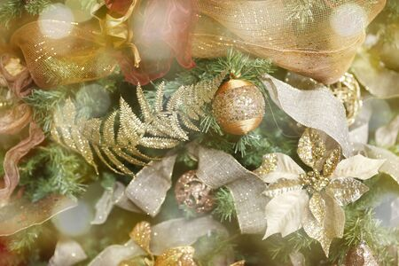 christmas and New Year holidays background with christmas balls and tree Imagens