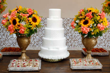 beautiful white party cake decorated with textures Banco de Imagens - 152326863