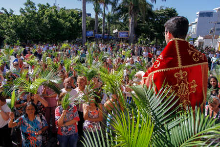 OLIVEIRA, MG / BRAZIL - 2018-03-25: Priest blesses branches in celebration of Palm Sunday