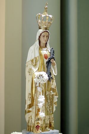 Statue of the image of Our Lady of Mercy or Our Lady of Mercedes, one of the designations attributed to the Virgin Mary in the Catholic Church, mother of God
