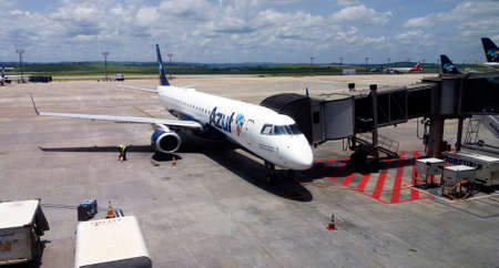 Confins, MG / Brazil - 2020-01-16: Embraer 195 airplane of the airline Azul at Confins airport, Belo Horizonte.