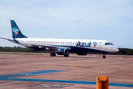 Cruz, CE / Brazil - 2020-01-23: Embraer 195 airplane of the airline Azul at Comandante Ariston Pessoa airport, Jericoacoara.