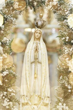Statue of the image of Our Lady of Fatima, mother of God in the Catholic religion, Our Lady of the Rosary of Fatima, Virgin Mary