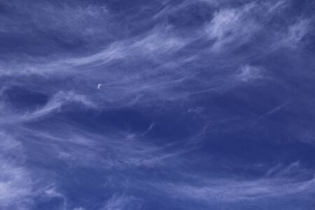 white  clouds in blue sky day and moon