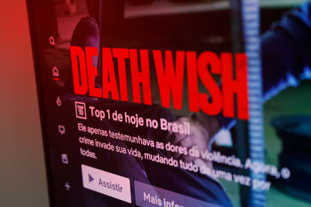 Oliveira, MG / Brazil - 2020-05-12: television screen with detail from Death Wish presented in Brazil