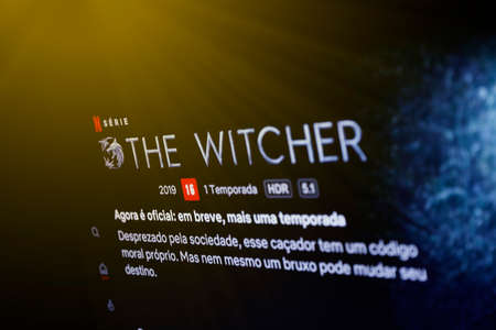Oliveira, MG / Brazil - 2020-05-12: television screen with detail from The Witcher presented in Brazil