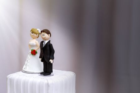 beautiful statues of bride and groom decorative wedding cake - wedding bride and groom couple doll in wedding cake Banco de Imagens