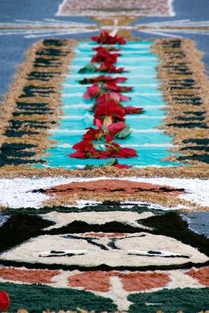 Minas Gerais / Brazil - June 20, 2019: Colorful carpets at the Corpus Christi ceremony celebration in Minas Gerais