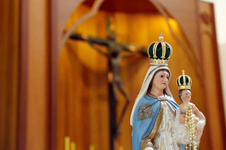 Statue of the image of Our Lady of the Rosary, the Holy Rosary or the Most Holy Rosary, one of the designations attributed to the Virgin Mary in the Catholic Church, mother of God