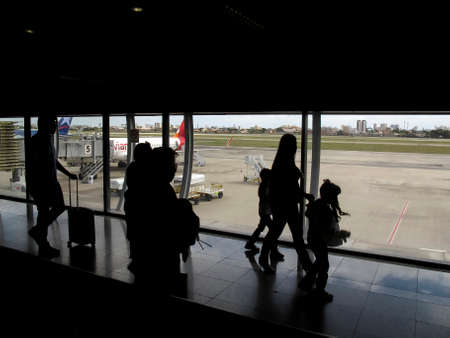 Fortaleza, Ceara / Brazil - July 28, 2018: Handling of passengers when boarding and disembarking at the international airport of Fortaleza - Pinto Martins (FOR)