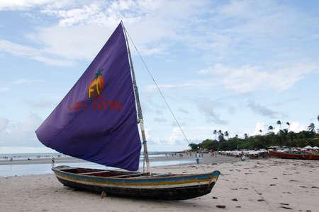Jericoacoara, Ceara / Brazil - January, 16, 2020 - decorative vessel on the tourist beach of Jericoacoara, northeastern Brazil. Editorial