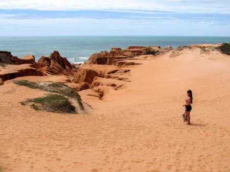 northeastern brazilian - bebibe, ceara, brazil cliffs - beaches and vacations in brazil - travel and tourism