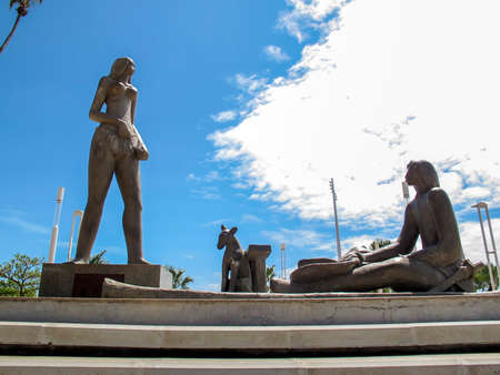 statue symbolizing Iracema do Mucuripe with Martin, Jaci and Moacir in a square in the city of Fortaleza, Ceara, northeastern Brazil. Editorial