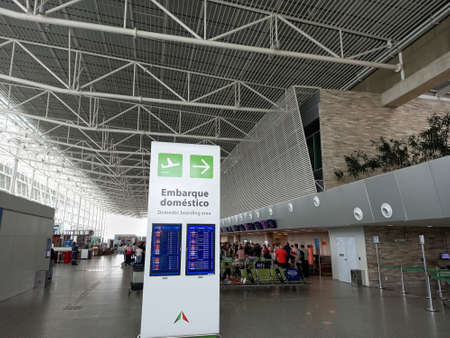 Sao Goncalo do Amarante, Rio Grande do Norte, Brazil - January 20, 2021: passenger movement in the departure and arrival area of Natal International Airport - Governador Aluizio Alves (NAT) Editorial