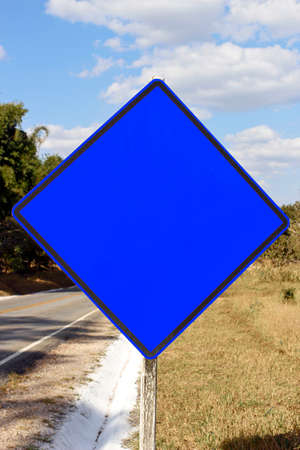 blue blank traffic sign mockup with no alert indication