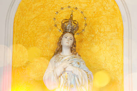 Statue of the image of Our Lady of the Immaculate Conception, mother of God in the Catholic religion, Virgin Mary