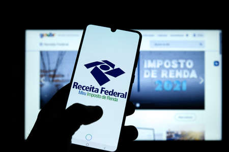 Minas Gerais, Brazil - March 21, 2021: customer used the income tax application of the federal revenue of brazil on mobile phone Editorial