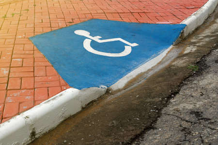 accessibility ramp for wheelchair users with accessibility symbol design Banco de Imagens