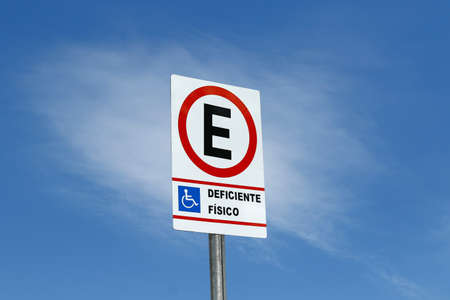 traffic sign indicating authorized parking for people with physical disabilities, wheelchair Banco de Imagens