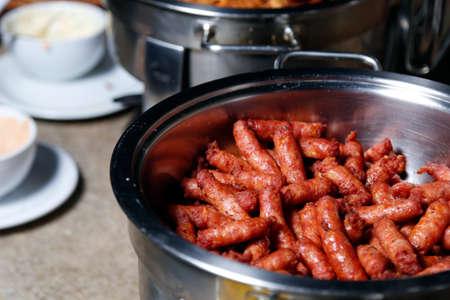 several spicy sausage served in pan Banco de Imagens
