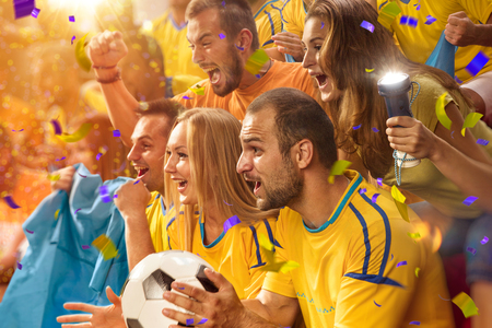 cheer: Fun soccer Fans in stadium arena Confetti and tinsel