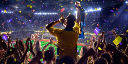 women playing soccer: Fans on stadium soccer game Confetti and tinsel
