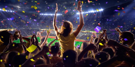 stadium crowd: Fans on stadium soccer game Confetti and tinsel
