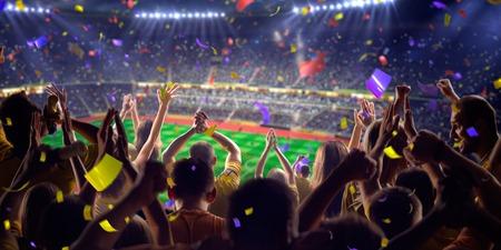 スタジアムのサッカーの試合の紙吹雪と見掛け倒しのファン