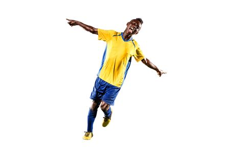 soccer player: Black soccer player isolated in white background Stock Photo
