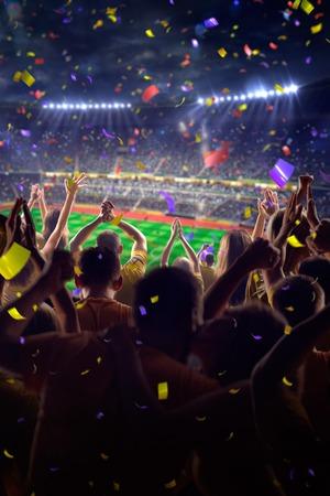 경기장 축구 게임 색종이와 반짝이 팬