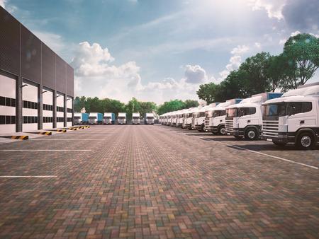 주차장에 트럭입니다. 화물. 푸른 날 톤