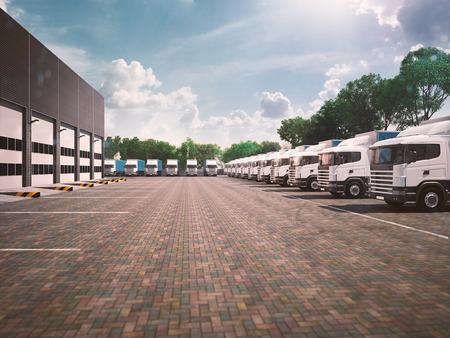 Truck in parking. Freight. blue day tone