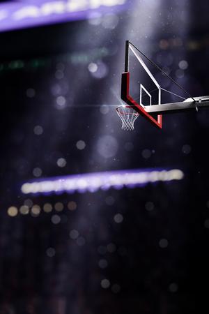 floodlit: Basketball court. Sport arena. 3d render background. unfocus in long shot distance