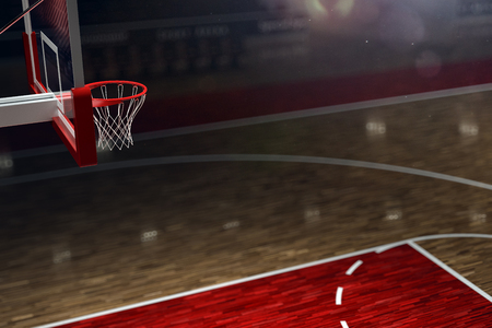 Basketball court. Sport arena. 3d render background. unfocus in long shot distance