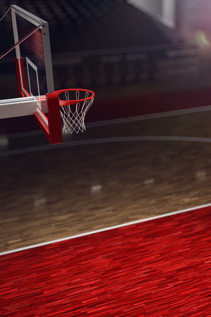 place to shine: Basketball court. Sport arena. 3d render background. unfocus in long shot distance