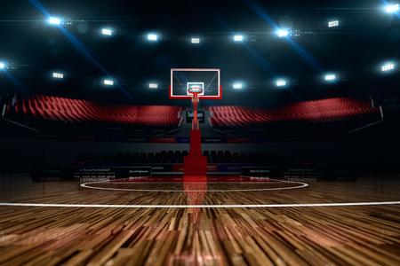 バスケット ボール裁判所。スポーツ アリーナ。3 d レンダリングのバック グラウンド。ロング ショットの距離で unfocus します。