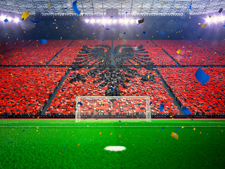 albania: Flag albania  of fans.Evening stadium arena soccer field championship win. Confetti and tinsel Blue Toning