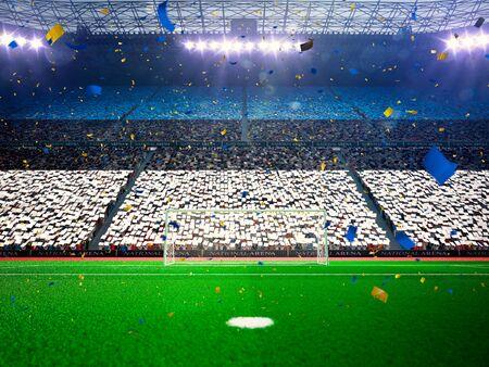 floodlit: Flag Estonia of fans.Evening stadium arena soccer field championship win. Confetti and tinsel Blue Toning