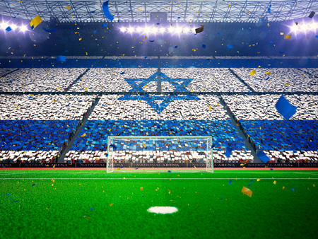 flag of israel: Flag Israel of fans.Evening stadium arena soccer field championship win. Confetti and tinsel Blue Toning