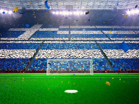 championships: Flag Greece of fans.Evening stadium arena soccer field championship win. Confetti and tinsel Blue Toning Stock Photo