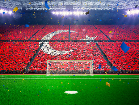 soccer fans: Flag Turkey of fans.Evening stadium arena soccer field championship win. Confetti and tinsel Blue Toning Stock Photo