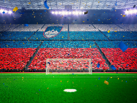 slovenia: Flag Slovenia  of fans.Evening stadium arena soccer field championship win. Confetti and tinsel Blue Toning