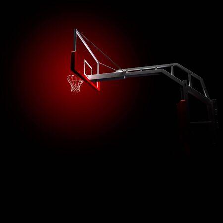 slam dunk: Red basketball houp in red . 3d render illustration on black background