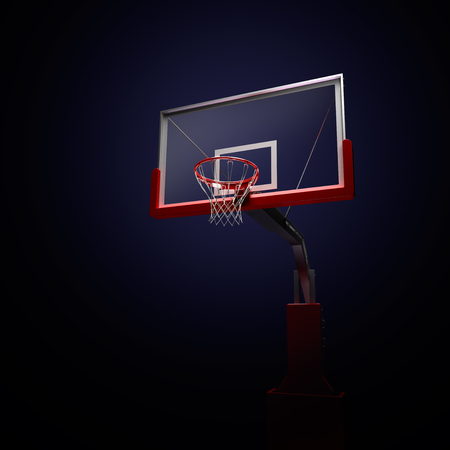 high school basketball: Red basketball houp in red . 3d render illustration on black background