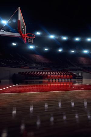 농구 코트. 스포츠 경기장. 3d 렌더링 배경입니다. 장거리에서 초점을 맞추지 않는다.