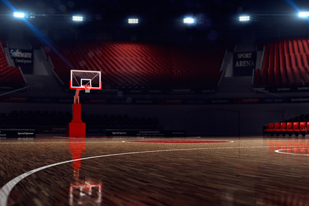 basketball: Basketball court. Sport arena. 3d render background. unfocus in long shot distance